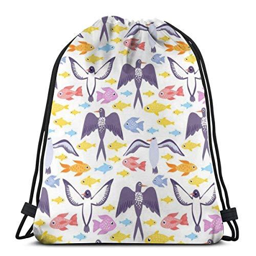 XCNGG Bolsa de Gimnasia Bolsa con cordón Bolsa de Viaje Bolsa de Deporte Mochila Escolar MochilaFree Sea Life Pattern Gym Bag Travel Drawstring Backpack Men & Women Sport Bag Portable Storage Bag for