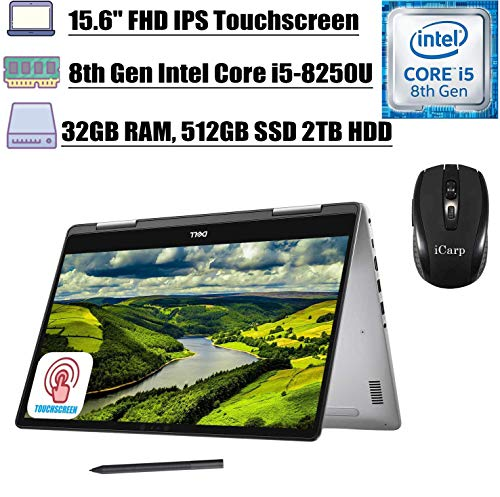 2020 Premium Dell Inspiron 15 7000 Series 2-in-1 Laptop, 15.6' FHD IPS Touchscreen, i5-8250Ui7-7500U 32GB RAM 512GB SSD 2TB HDD USB-C Backlit KB Facial Recognition Win 10 Dell Stylus Pen iCarp Mouse