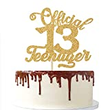 13 Official Teenager Cake Topper, Happy 13th Birthday - Cheers To 13 Years, 13 & Fabulous Boys Girl Thirteen Years Old Party Decoration (Mixed Gold Glitter)