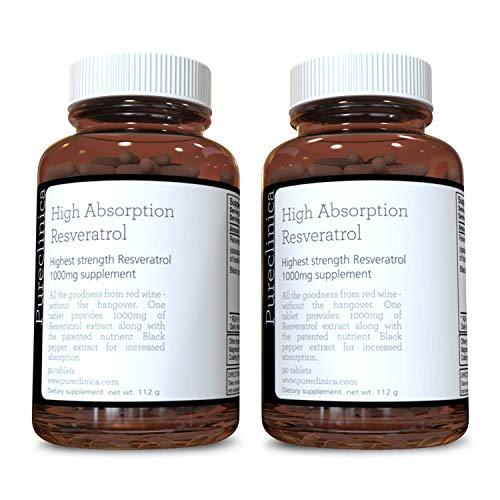 1000mg Resveratrol x 180 Tabletten (2 Flaschen zu 90 Tabletten - 6 Monate Vorrat). 10 x Stärke mit Schwarzpfeffer-Extrakt für schnellere Absorption. SKU: RV3x2