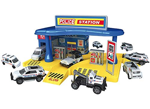 MeeYum Kids Toys Pretend Play Police Station Set with 3 Die Cast Vehicles and Road Map