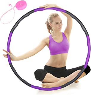 accmor Weighted Hula Hoop, Fitness Exercise Hula Hoop 8 Section, Weight Loss Workout Equipment for Dancing Hot Fitness Workouts and Simply The Funnest Way to Lose Weight - Fat Burning