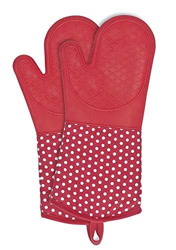 Wenko Topfhandschuhe mit Handflächen aus Silikon, 1 Paar, praktischer Küchenhelfer, auch als Grillhandschuh verwendbar, hitzebeständig, 18,5 x 37,5 cm, rot