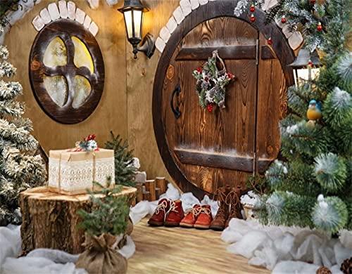 FOURFOOL DIY 5D Diamante Pintura por Número Kit,Feliz Navidad Guirnalda Decoración navideña Botas de árbol Regalos Linterna de pájaro Puerta de madera rústica Feliz año nuevo,Rhinestone Bordado Artes
