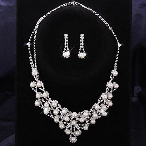 Punching Perlenkette + Ohrring Diamanten Hochzeitsschmuck Weiße Perle Brautkleider Wassertropfen Schmuck-Set , Silber