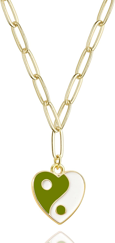 Yin Yang Pendent Necklace Y2K Trendy Necklace for Women Teen Girls Men