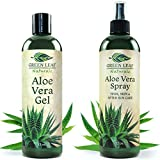 Green Leaf Naturals Aloe Vera Gel + Spray for Skin, Hair, Face, After Sun Care and Sunburn Relief - 99.8% Cold-Pressed Aloe Vera - Farm Grown and Made in the USA - 100% Pure and Natural Skin Care Moisturizer - 2-Pack Set - 12 Ounce Bottles