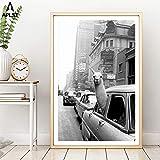 ganlanshu Taxi de Alpaca en la Ciudad de Nueva York Lienzo Arte de la Pared Animales Moderno póster y decoración para Sala de estar60x90cmPintura sin Marco