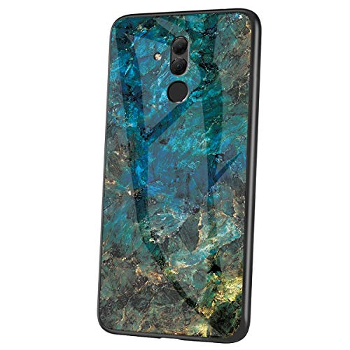 Herbests Kompatibel mit Huawei Mate 20 Lite Hülle Gehärtetes Glas Rückseite + Silikon Bumper Handyhülle Marmor Muster Kratzfeste Hardcase Schutzhülle Stoßfest Hybrid Hülle,Grün