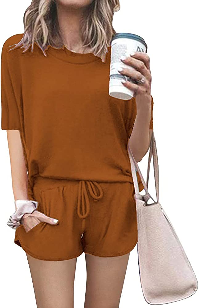 PRETTYGARDEN Women's Summer Two Piece Outfits Lounge Pajamas Sets Short Sleeve T Shirts and Shorts Active Wear Tracksuits