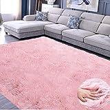 JunYito Alfombra gruesa de pelo sintético, antideslizante, para sala de estar, dormitorio, habitación de niñas, decoración (rosa, 60 x 90 cm)