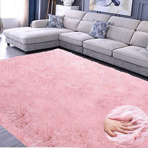 JunYito Alfombra de piel sintética grande, antideslizante, para sala de estar, dormitorios, niñas, habitaciones de niños, decoración (rosa, 120 x 160 cm)