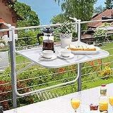 JAUTO Balkonhängetisch 60x40cm Balkontisch zum Einhängen aus Streckmetall & Kunststoffummantelung - Klapptisch für kleinen Balkon - Hängetisch klappbar & witterungsbeständig - Outdoor-Tisch