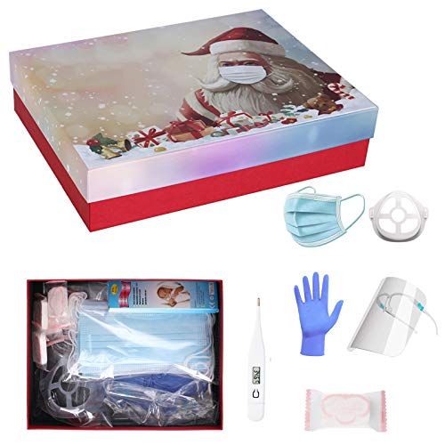 Christmas Luxury Personal Protection Big Gift Box, Set of Disposable_Face_Masks, Thermometer, Goggles Shield, Bracket, Compressed Towel, Gloves, Best Present for Xmas (1 Box)