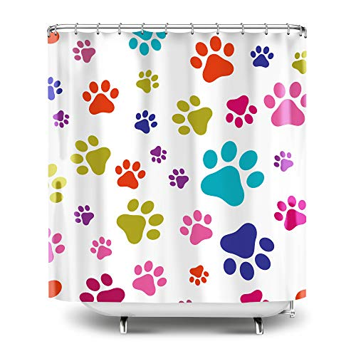 Colorful Paw Prints Curtain
