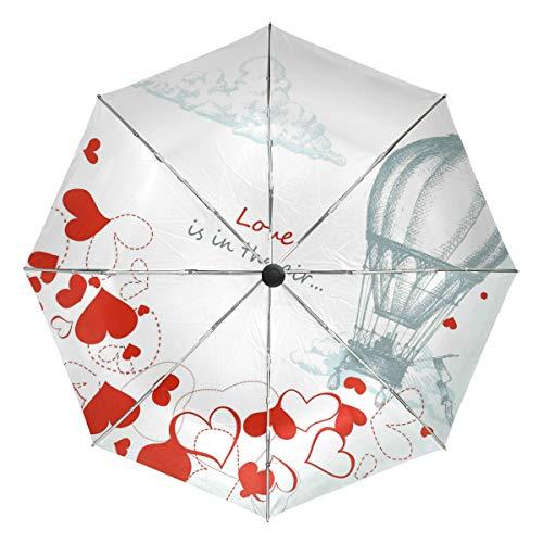 Wamika Parapluie Automatique en Forme de Ballon à air Chaud, Coupe-Vent et imperméable à l'eau Protection UV Parapluie de Voyage 3 Plis Ouverture Automatique Bouton Soleil et Pluie