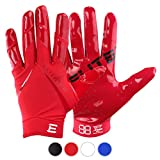 EliteTek New All RED RG-14 Football Gloves Youth and Adult (Red, Adult XL)