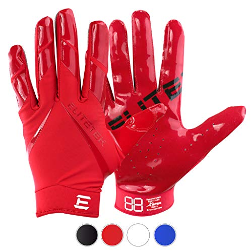 EliteTek New All RED RG-14 Football Gloves Youth and Adult (Red, Adult S)