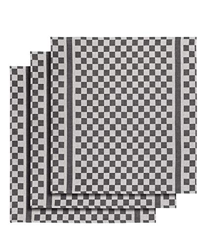 De Witte Lietaer Trapo de cocina, 65 x 70 cm, algodón, blanco/negro, 3 unidades