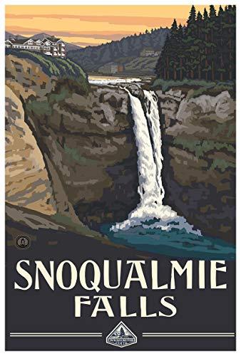 Snoqualmie Falls Washington Giclee Art Print Poster from Original Travel Artwork by Artist Paul A. Lanquist 12' x 18'