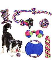 PHYLES Juguetes para perro, juego de 6 juguetes de cuerda para masticar para perros pequeños y medianos, juguete interactivo para perro con cordón de tiro, pelota, etc.