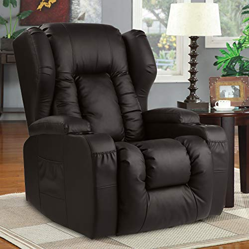 BINGTOO Recliner Chair- Swivel Rocker Recliner Chair- Ergonomic Manual Glider Rocking Recliner Chair Sofa Home Theater Seating for Nursery with Lumbar Pillow/Cup Holder/Pockets, PU Leather