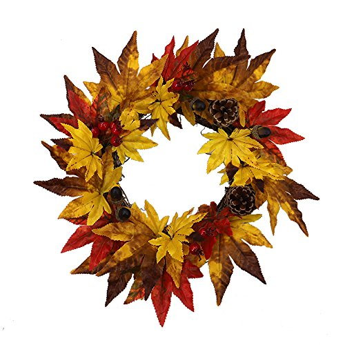 cheap4uk Front Door Wreath Floral Autumn Fall Natural Artificial Maple Leaves Wreath Festival Celebration Door Wall Hanging Ornament Wedding Home Decor Thanksgiving Day Christmas Decorative