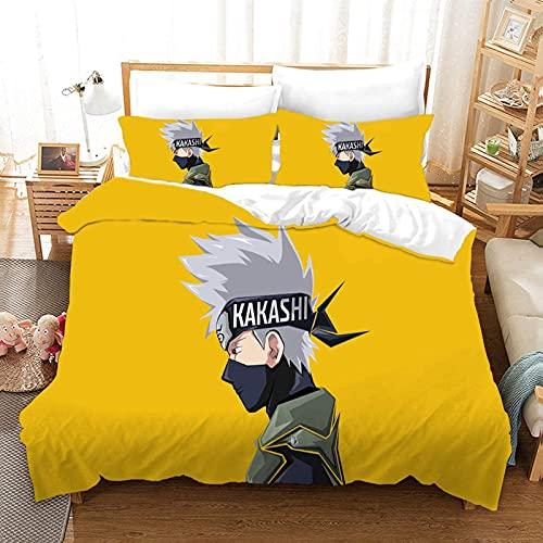 BMKJ Juego de ropa de cama infantil Naruto Anime de microfibra, juego de 3 piezas, impresión digital 3D, ropa de cama para niños, jóvenes, adolescentes (3TLG.200X200+2 * 50X75cm,D)