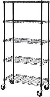 BestOffice 5 Shelf Steel Wire Shelving 30 by 14 by 60-Inch Storage Rack W/Wheels