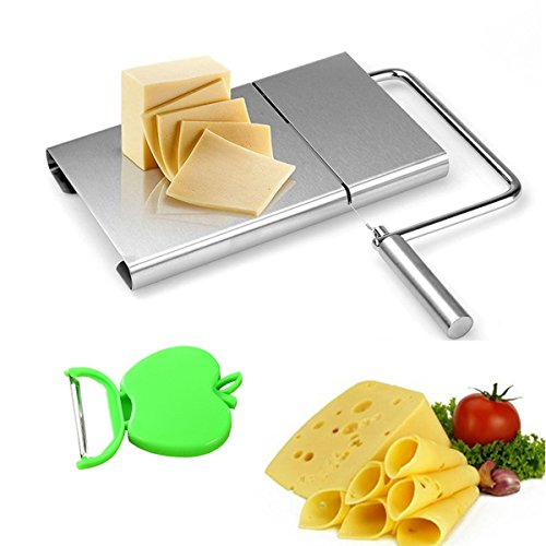 Keledz Cheese Slicer Stainless Steel Wire Butter Cutter with Serving Board