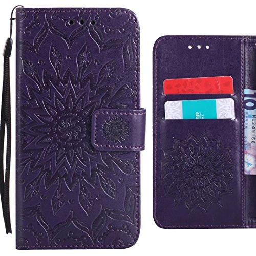 Ougger Handyhülle für ZTE Blade L110 (A110) Hülle, Blühende Blumen Tasche Leder Schutzhülle Schale Weich TPU Silikon Magnetisch-Stehen Cover Tasche ZTE Blade L110 mit Kartenslot (Lila)