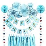 誕生日飾り付けセット SUNBEAUTY 特大 ペーパーファン ハニカムボール タッセル スターガーランド 一歳 2歳 30歳 50歳 バースデー デコレーション (ブルー系)