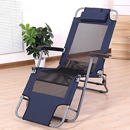 Chaises pliantes Xiaolin Chaise de Bureau de Loisirs Chaise de Pause déjeuner Chaise de Paresseux Chaise de Plage Recliner (Couleur : Black)