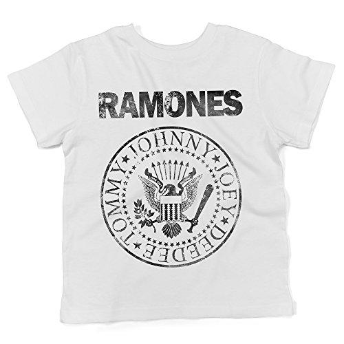 LaMAGLIERIA Jersey Shirt für Babys Ramones Grunge Black Print - 100% Baumwolle Baby t-Shirt, 6-12 Monate, Weiß