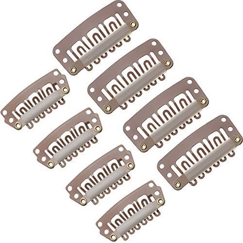 100 Stücke Perücken Clips U Förmige Metall Clips Edelstahl Clips 6 Zähne Kämme Clips mit Weichem Gummi für Haarverlängerungen DIY, 3,2 cm, 2,8 cm (Hellbraun)