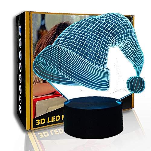 KangYD 3D-Nachtlicht-Weihnachtsmütze, LED-Illusionslampe, Kindergeschenk, E - Alarm Clock Base (7 Farbe), Dekor Lichter, LED berühren, Dekorlampe, Atmosphärenlampe