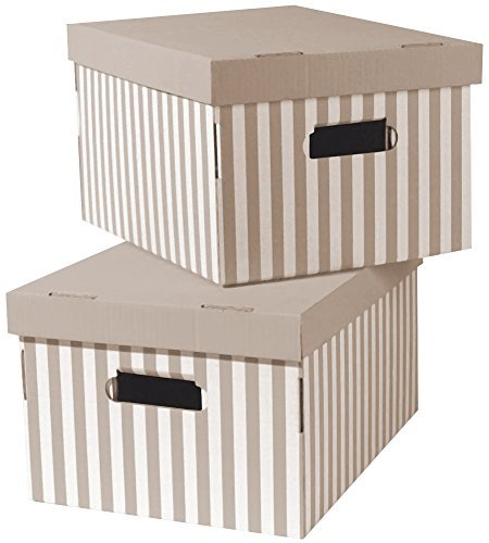 COMPACTOR 2erSet Boxen aus Wellpappe, Mit Transportgriffen, Stapelbar, Taupe, 40x31x21cm, RAN4583