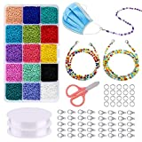 Migaven Perler Beads,Make Your Own Mask Lanyard 20Pcs x 70cm Strap Colorful Beads Chain,with 15 Colors beads,40Pcs Lobster Clasps, 100pcs Open Jump Rings,1Pcs Scissors, and 2 Rolls of Elastic Strings