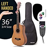LEFT Handed 3/4 Size (36 Inch) Acoustic Guitar Bundle Junior Series by Hola! Music with D'Addario EXP16 Steel Strings, Padded Gig Bag, Guitar Strap and Picks, Model HG-36LFT, Natural Satin Finish