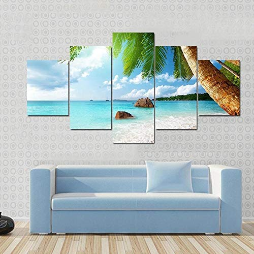 IOOIO Cuadro sobre Impresión Lienzo 5 Piezas Playa ANSE Lazio Seychelles Cuadro en Lienzo 5 Piezas Listo para Colgar Lienzos Moderno Arte Sala Decoración Regalo