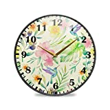 Jacque Dusk Reloj de Pared Moderno,Hojas de Flores Tropicales Rosas,Grandes Decorativos Silencioso Reloj de Cuarzo de Redondo...