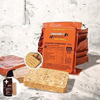 CONVAR-7 Pack barre énergétique multi-vitamines, pour sport et activités de plein air, nourriture pour situations d'urgence, ration de survie. Goût biscuit, emballage compact et longue conservation.