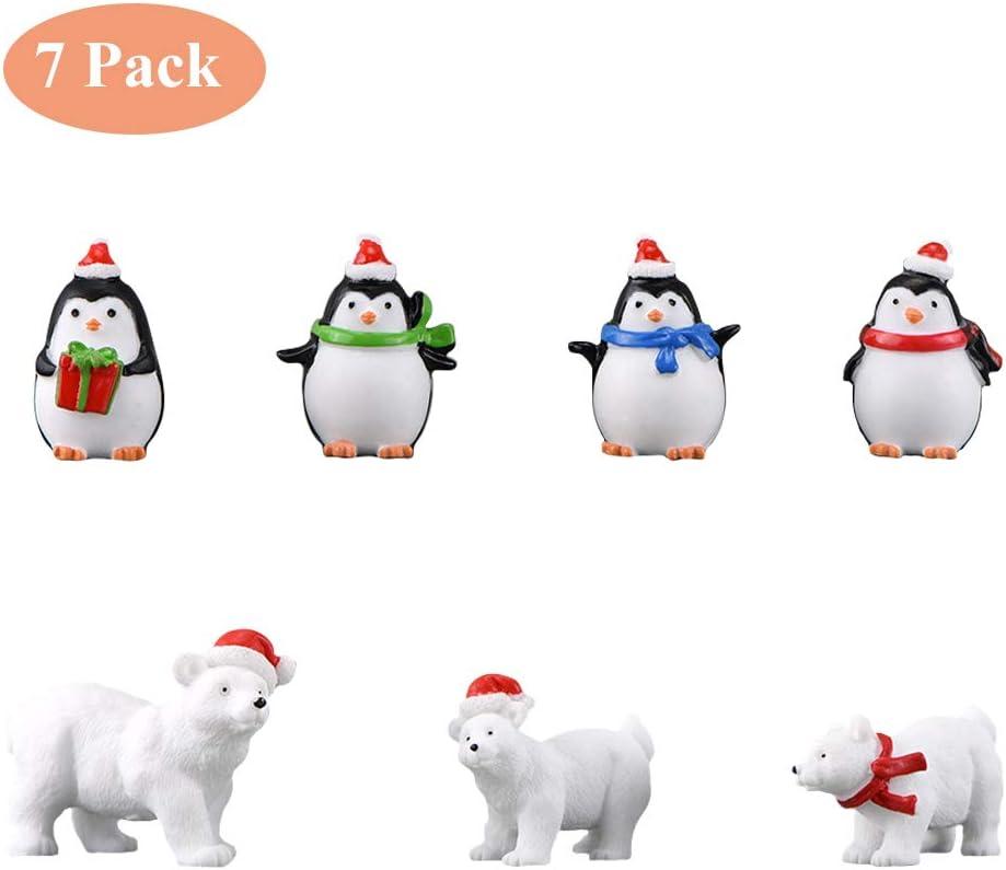 Ornamenti da Giardino in Miniatura Natale 20Pcs Resina Natale Decorazioni Mini Figurine Ornamenti Natalizi Decorativi Giardino Tavola Decor Albero di Natale Pupazzo di Neve Babbo Renna Treno Slitta