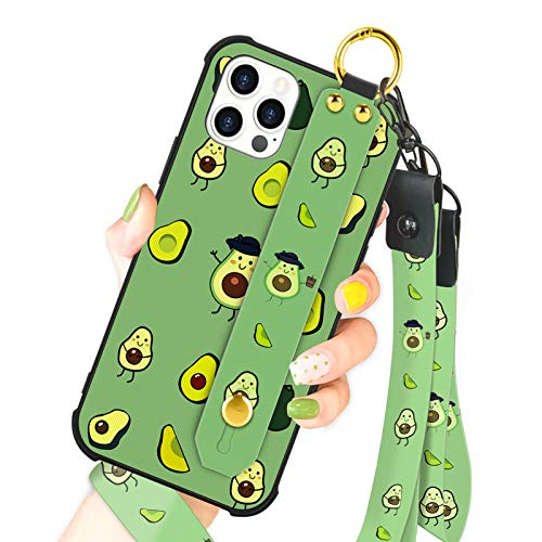 OOK Compatible with iPhone 12 Pro Max Case Avocado Design Wrist Strap Cell Phone Cover with Lanyard Kickstand Band Protective Shockproof Stand Fruit Pattern Bumper Case for Women Girls
