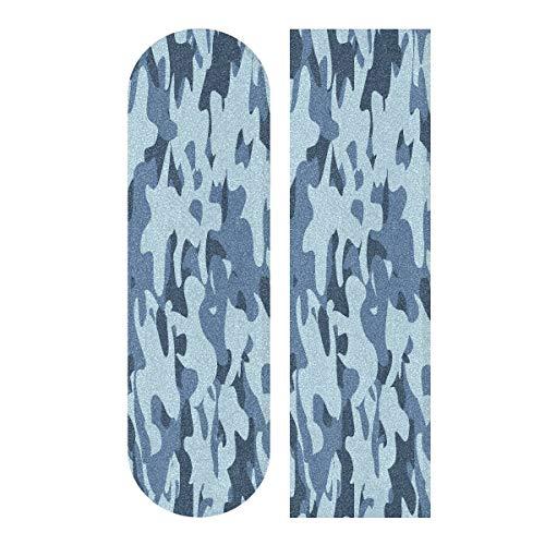 Hoja de cinta de agarre para monopatín, 33 x 9 pulgadas, color azul claro camuflaje textura papel de lija para Rollerboard Longboard Griptape Bubble Free Skate Grip Tape