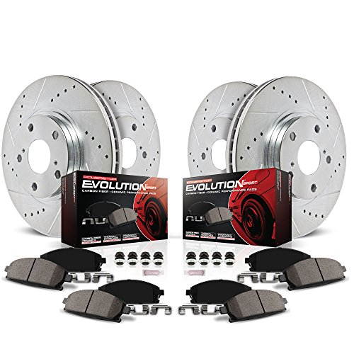 Power Stop K2441 Front & Rear Brake Kit with Drilled/Slotted Brake Rotors and Z23 Evolution Ceramic Brake Pads,Silver Zinc Plated