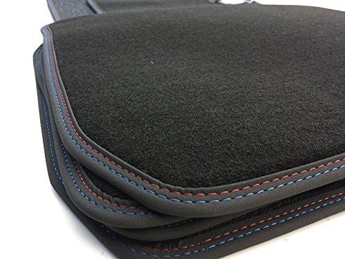 Fußmatten F20 Velour Autoteppich mit Doppelnaht rot/blau im M1 Design