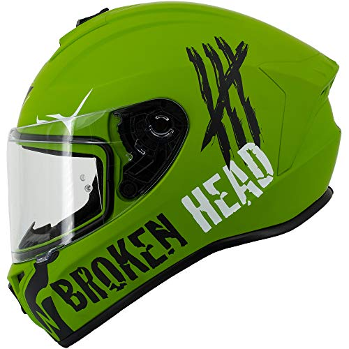 Broken Head Adrenalin Therapy 4X - Sportlicher Integralhelm - Motorrad-Helm - Military-Grün Matt - Größe XL (61-62 cm)