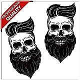 SkinoEu® 2 x Adesivi Vinile Stickers Skull Teschio Barba per Auto Moto Finestre Porta Casco Scooter Bici Motociclo Tuning B 136
