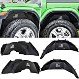E-cowlboy Front+Rear Inner Fender Liners for 2018 2019 2020 2021 Jeep Wrangler JL & JL Unlimited US Flag Style Corrosion-Resistant Aluminum Splash Guards (Black)